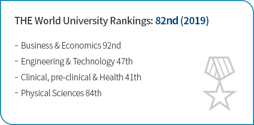 THE World University Rankings: 111th (2018) Engineering & Technology 47th Clinical, pre-clinical & Health 57th